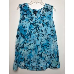 Lane Bryant Blue Printed Sheer Sleeveless Blouse